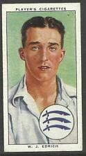 PLAYERS 1938 CRICKETERS W.J. Edrich Card No 7 of 50 CRICKET CIGARETTE CARDS