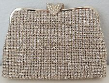 "Crystal Beaded ""V"" Clasp Evening Clutch Handbag Purse - Gold - New!"