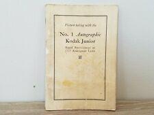 Rare! 1921 Kodak No 1 Autographic / Junior f7.7 camera manual instructions book