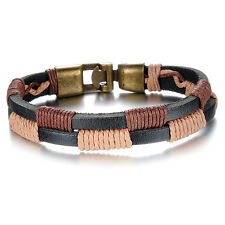 Brown Unisex Hook Clasp G315 Genuine Cow Leather Bracelet Black