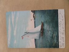 vintage postcard of saling boat in harbour posted dated jan 1st 1907