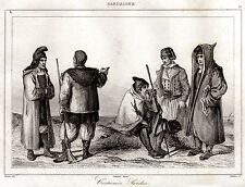Sardegna: Costumi Tradizionali Sardi. Sardinia. Acciaio. Stampa Antica. 1839