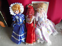 "Lot of 3 Vintage Plastic Ethnic Character Girl Dolls 7 1/2"" Tall"