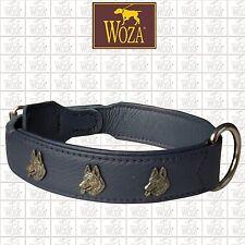 Premium Dog Collar WOZA German Shepherd Genuine Cow Napa Leather Handmade C9122