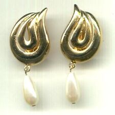 GOLD TONE SWIRL Ear Clips ~ TEARDROP Pearly DANGLES