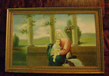 VINTAGE OLD OIL PAINTING OF JESUS AND THE VIRGIN MARY IN OLD MASTER STYLE NICE!!