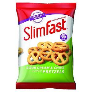 Slim Fast Sour Cream Pretzel Snack Bag 23g - Pack of 12