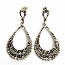 ART DECO STYLE MARCASITE PENDANT EARRINGS STERLING SILVER 925