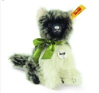 STEIFF FLUFFY CAT 5.5 inches 14cm Grey/White MOHAIR Sitting NonJointed Cat NEW