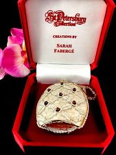 Nib Sarah Faberge St. Petersburg Collection Silver Silk Precious Stone Ornament