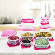 34 Pc Reusable Plastic Food Storage Containers Set with Red Air Tight Lids