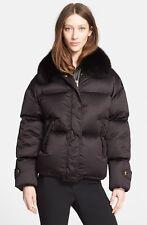 $2500 BURBERRY LONDON Goose Down Puffer Jacket Removable Fox Fur Collar Black 10