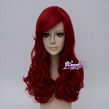 55CM Red Long Curly Hair Lolita Women Fashion Anime Cosplay Wig + Cap