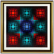 Victor Vasarely Dyevat Color Silkscreen Hand Signed Modern Optical Illusion Art