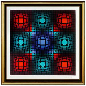 Victor Vasarely Dyevat Color Silkscreen Hand Signed Modern Optical Illusion Art