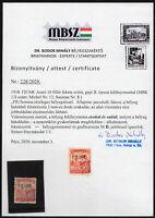 ✔️ FIUME 1918. SASSONE 8, 10f ROSSO, CERTIFICATE CV €24.000