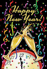 """FM01 HAPPY NEW YEAR CHAMPAGNE 2017 PARTY NEW YEARS 12""""x18"""" GARDEN FLAG BANNER"""