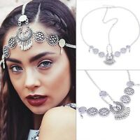 Womens Vintage Boho Metal Head Tassel Chain Jewelry Headband Headpiece Hair Band