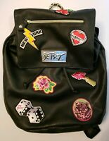 Betsey Johnson Black Drawstring Medium Backpack New York Rose Faux Leather 2014