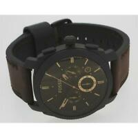 Fossil Herren Armbanduhr Machine Edelstahl Leder braun schwarz Quarz FS4656