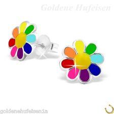 Multicolor Blume  Ohrstecker 925 Echt Silber Geschenkidee Kinder Mädchen S-001gh