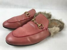 Women's Gucci Princetown Pink Fur-Lined Leather Slides Size 40 / 10 US