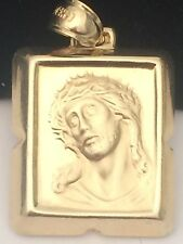 Religous 14K Yellow Jesus Face Diamond Cut Mens Ladies Unisex Charm Pandent