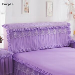 1X Bed Headboard Slipcover Lace Floral Ruffle Stretch Dustproof Cover Room Decor
