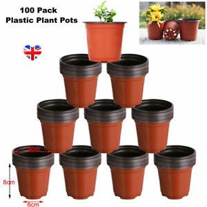 "100x Plant Pots Plastic Small Mini 9cm Indoor Outdoor Terracotta Flower Pot 3.5"""