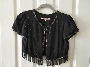 Review Black and Gold Beaded Cropped Bolero Size 6