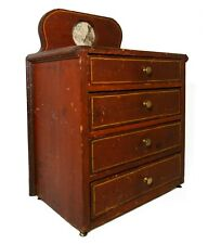 RARE MID-LATE 19TH C ANTIQUE PAINTED CHILD'S CHEST, W/BACKSPLASH & BRASS PULLS