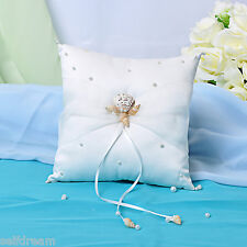 Ivory Satin Bow Ring Bearer Pillows -Gb55c