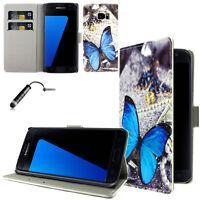 Samsung Galaxy S7 Cover Astuccio Custodia a Portafoglio FARFALLA BLU