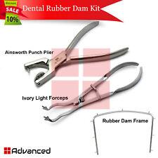 3pcs Dentist Rubber Dam Kit Ainsworth Punch Hole Plier Ivory Light Forceps Lab