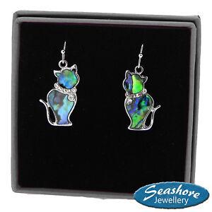 Cat Earrings Paua Abalone Shell Womens Silver Fashion Jewellery Drop Earrings