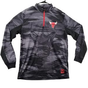 Chicago Bulls Shirt Men's NBA  Long Sleeve Gray Red Stripes 1/4 Zip Size XL