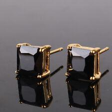24k yellow gold filled princess topaz dazzling women wedding stud earring