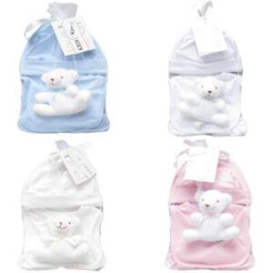 Baby Boy Girl 5 Piece Gift Set Booties Bib Hat Mittens Teddy Toy Shower Newborn