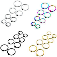 Mixed 4 Sizes Captive Bead Hoop Earring Ear Cartilage Eyebrow Tragus Ring