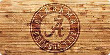 Bama Auto Alabama Fan Roll Tide Logo Wood Style Acrylic License Plate