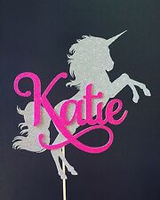 Unicorn Cake Topper Personalized With Name Glitter Party Supply Centerpiece