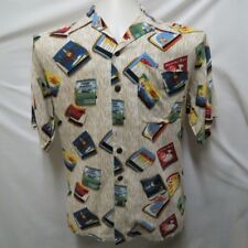 Mens Vacation graphic design martini bowling horse racing button front UTILITY M