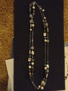 Lia Sophia Ginger Frost Necklace Genuine Mother-of-Pearl & Glass Beads NEW