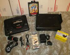 Sega Genesis Non TMSS & Model 1 Sega CD w/ Sonic Bundle Very Nice Console System