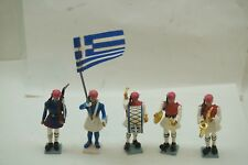 TOY SOLDIERS AOHNA MADE IN GREECE SET 5 MUSICIANS FLAG BEARER GREEK EVZONES