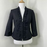 White House Black Market Blazer Size 2 Lined Partial Zip Ruffle Bellamy Jacket