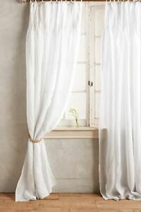 """ONE (1) Anthropologie Pinch-Pleat Linen Curtain Panel Whisper Gray 50 x 108"""" NWT"""