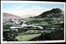 "SAN LUIS OBISPO CA~1900's SOUTHERN PACIFIC ""LIMITED"" ON TRESSLE~HORSESHOE CURVE"