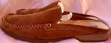 Women's G.H BASS Shoes SZ 9 Tan Leather Suede Stiching Slip On Mules Goldy