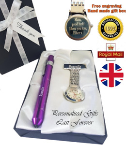 Nurse Gift Appreciation Handmade Gift Engraved Fob Watch Torch Pen, Midwife Gift